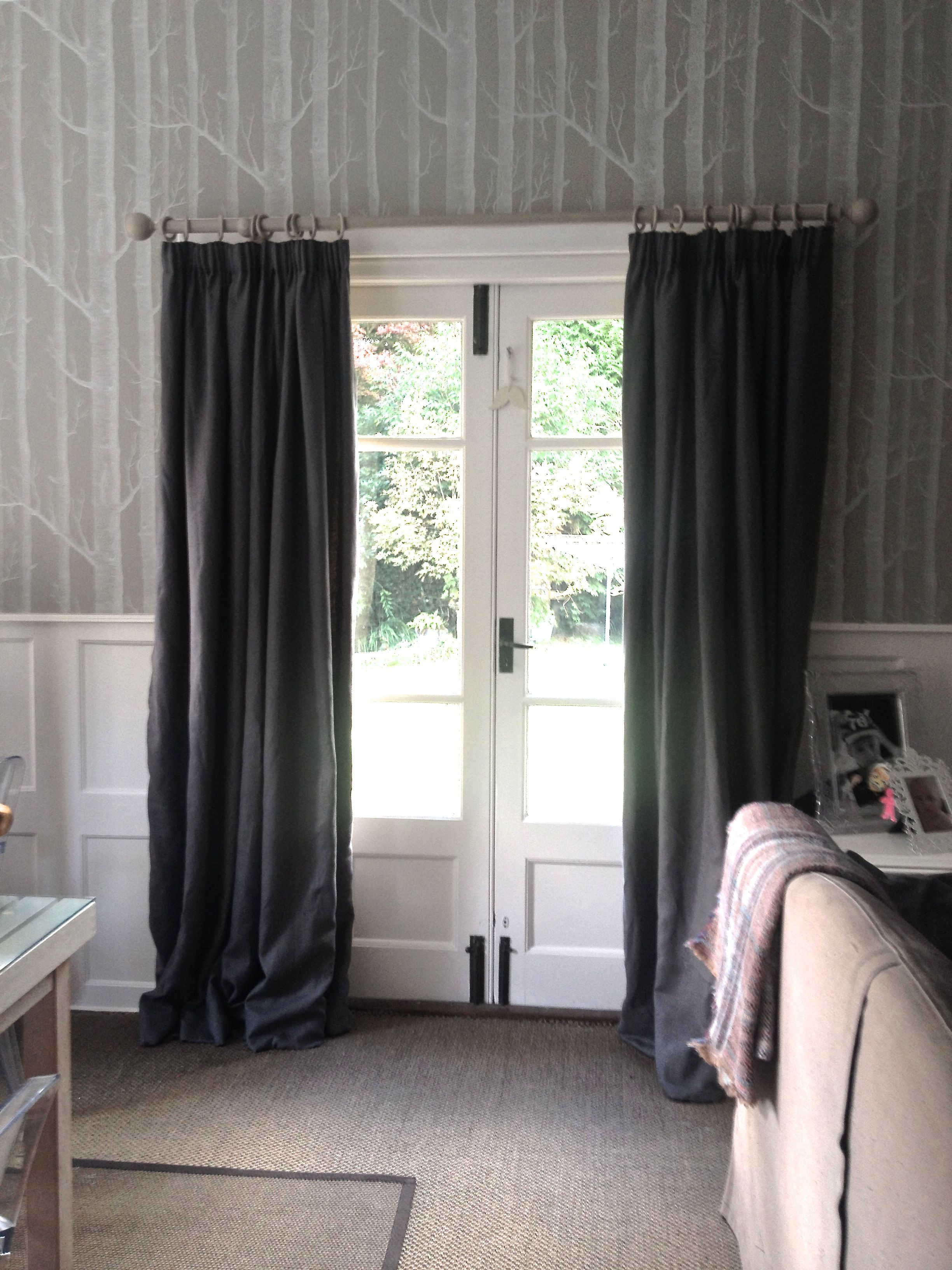 Puddled linen interlined pencil pleat curtains soft furnishings