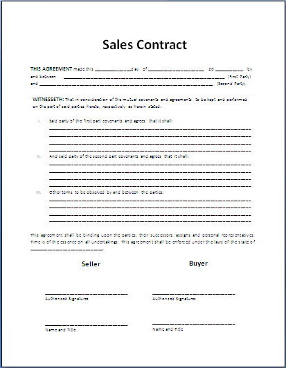 Formal Sales Agreement Contract Template Photography