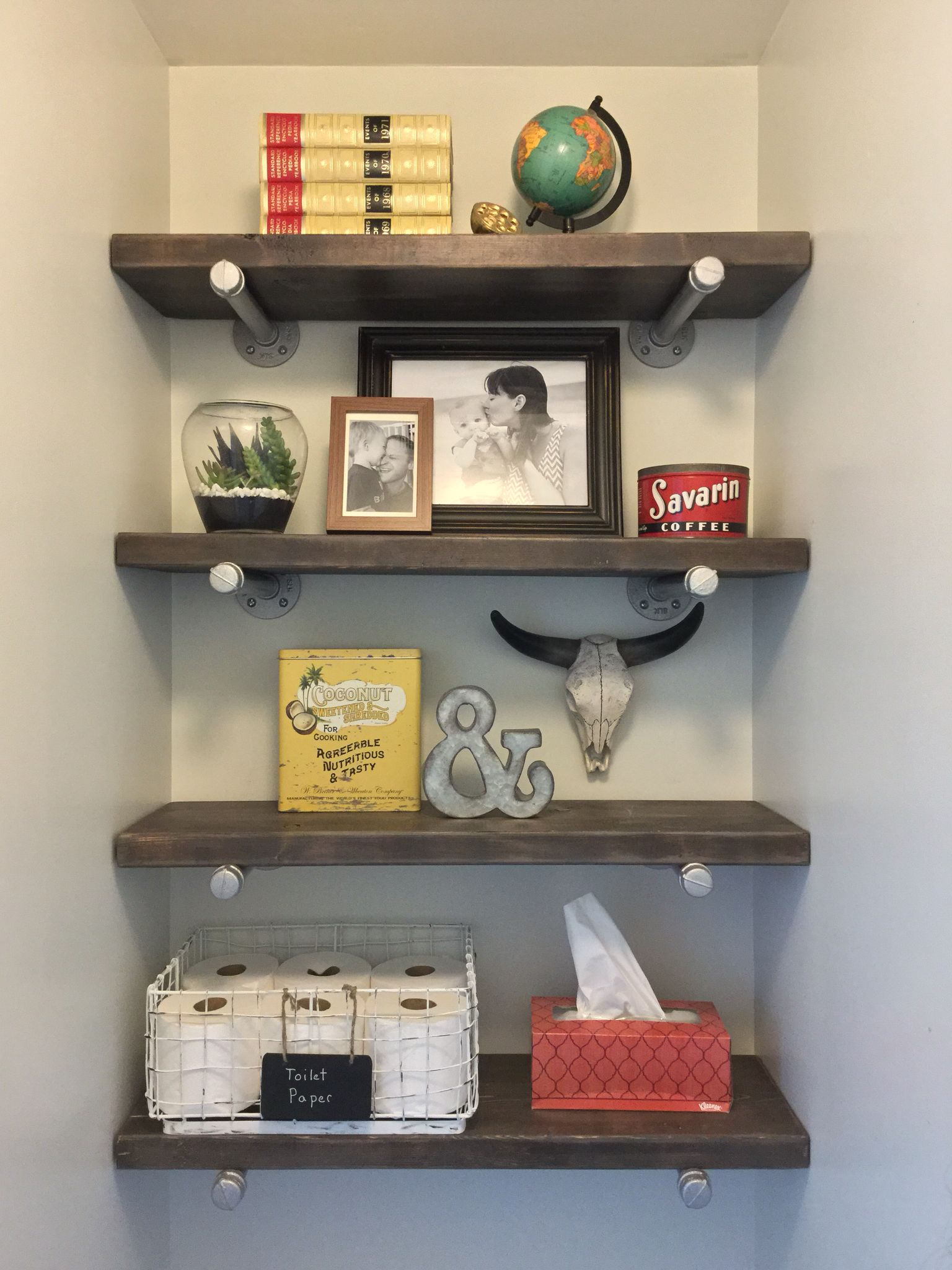 Floating Shelves In Master Bathroom Water Closet Pipe And Weathered Wood