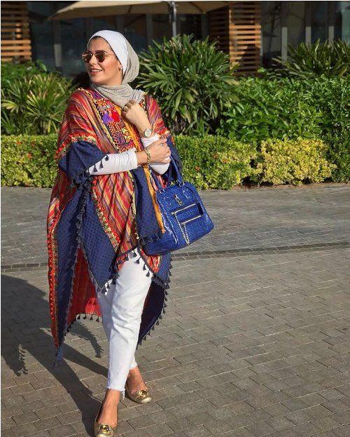Bohemian poncho hijab style-Hijab trends 2018 u2013 Just Trendy Girls | Mode Hijab | Pinterest ...
