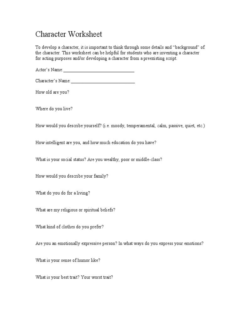 Musical Theater Character Worksheet Character Worksheets
