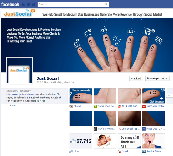 Check out this cool Facebook Fan Page Timeline Blended Image.     See how the icon boxes and profile picture are part of the same whole image!    If you want to see more or want one, just click on the picture or check them out at: http://www.justsocial.com/custom-facebook-timeline-covers/