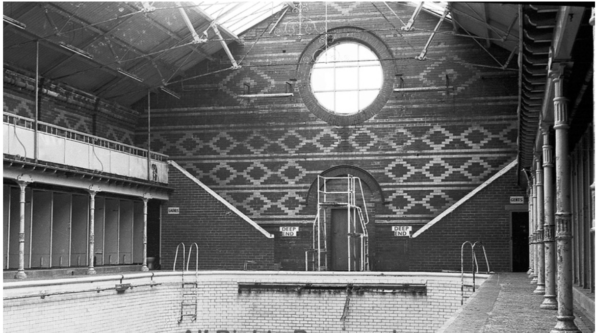The original Victorian swimming baths in Whittaker Street, Radcliffe