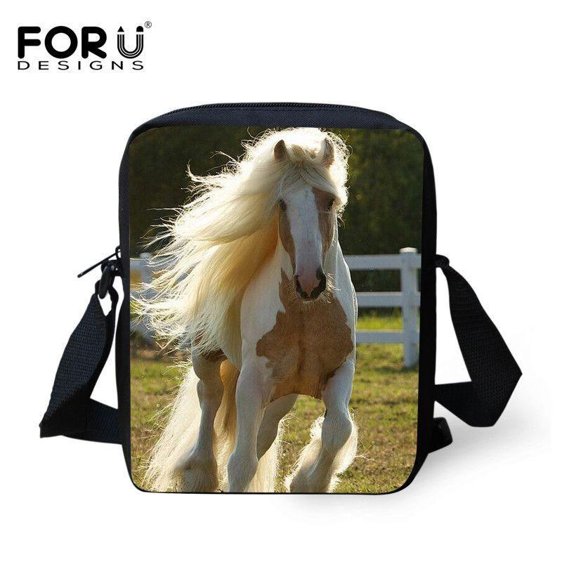 FORUDESIGNS Designer Men Messenger Bags Cool Male Animal Horse Bag Boys Owl Cross Body Bag Casual Men's Travel Shoulder Handbag