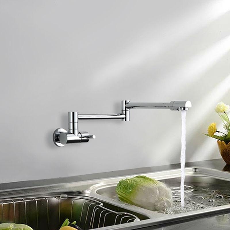 Buy Brass kitchen faucet Single Handle Pot Filler Swing Spout Wall ...