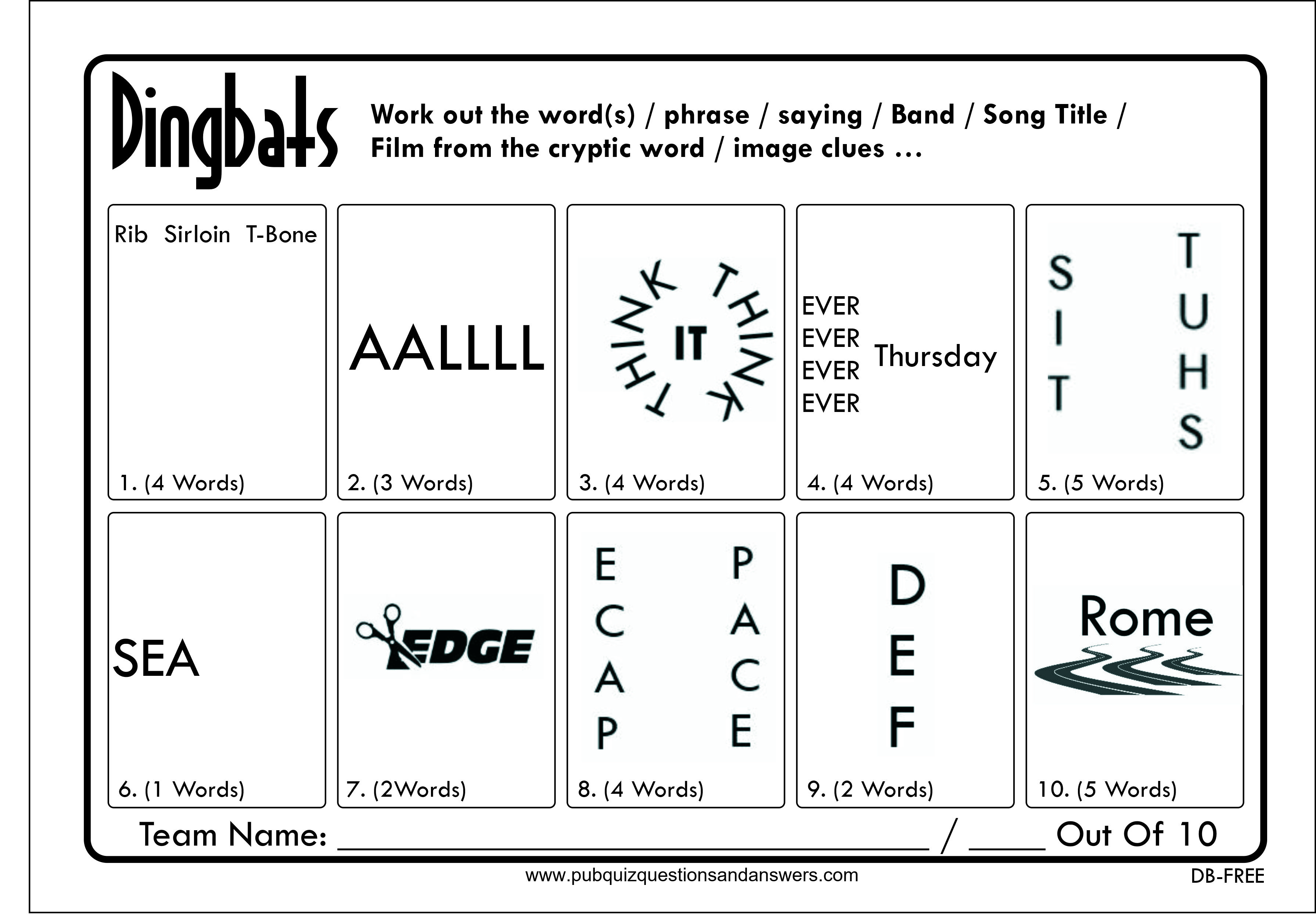 Free Dingbats Quiz | Quiz questions and answers, Pub quiz ...