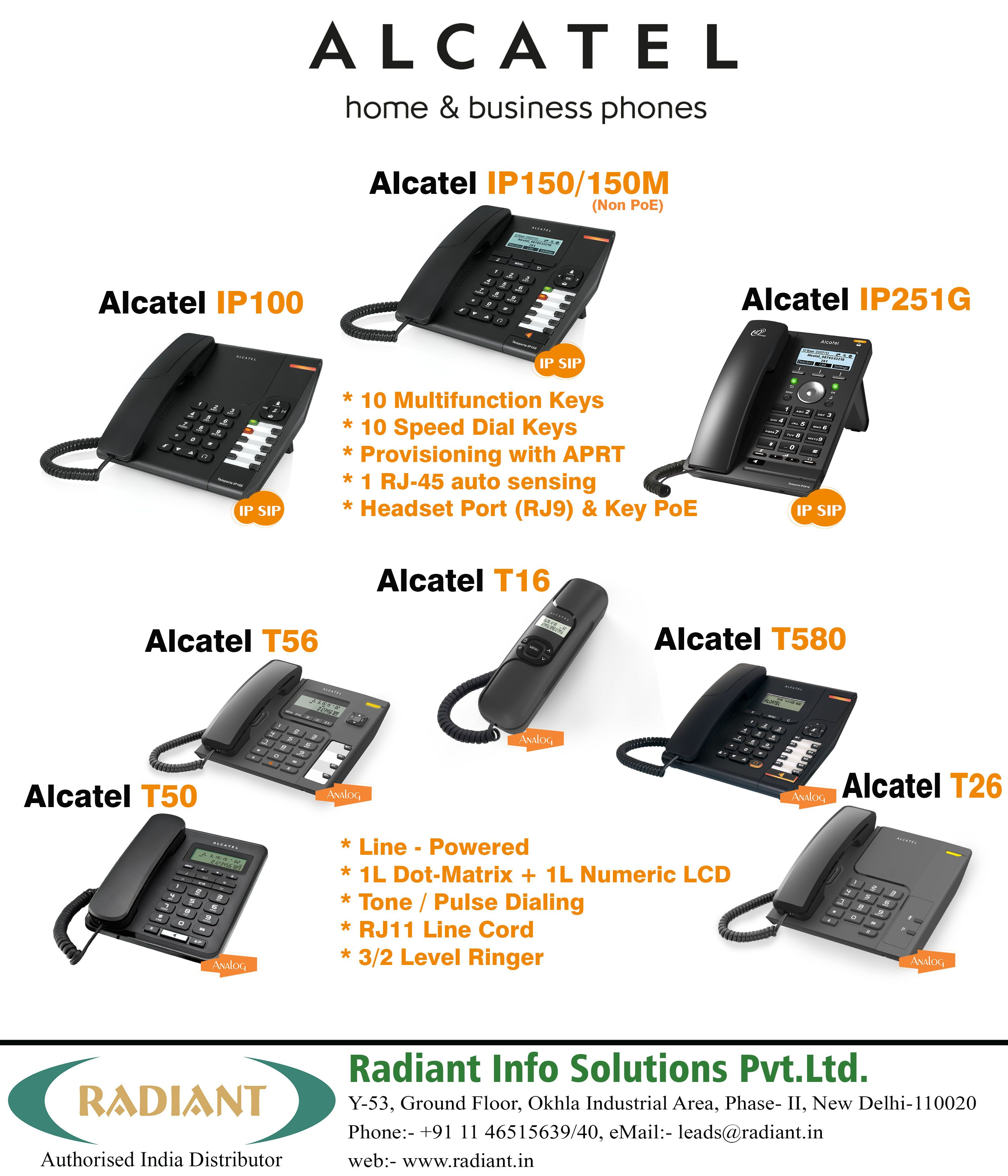 ALCATEL Home and #Business VoIP/IP & Analog Phones- (IP100, IP251G ...