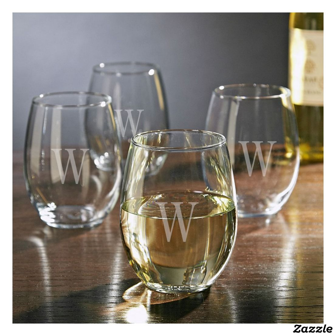 Set Of 4 Monogram Stemless White Wine Glasses Zazzle Com Wine Glass White Wine Glasses Personalized Stemless Wine Glasses