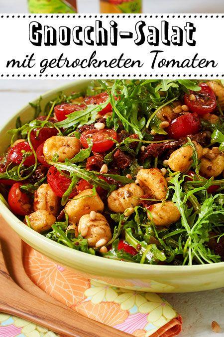 Gnocchi-Salat mit Rucola und getrockneten Tomaten #easydinnerrecipes