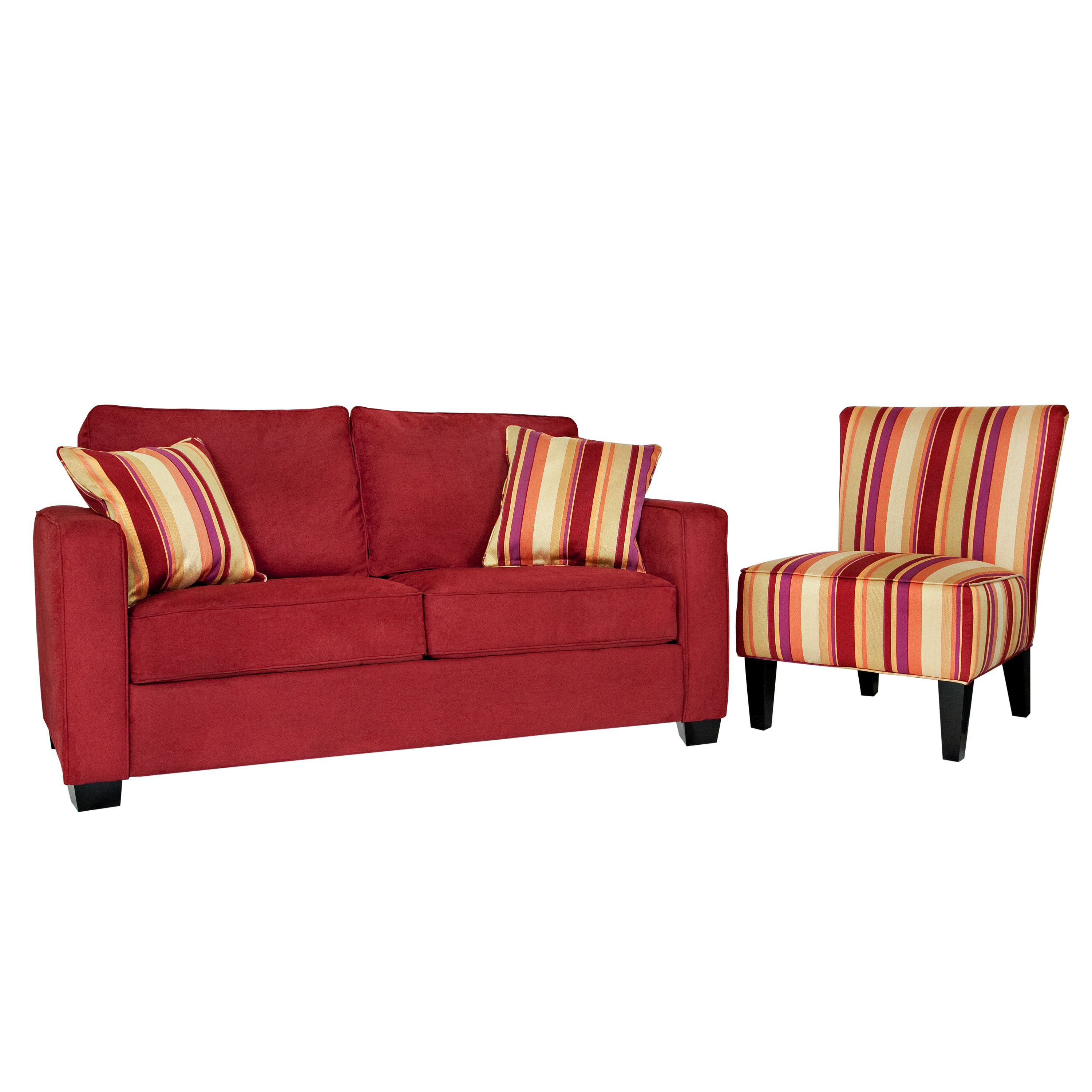 Portfolio Madi Crimson Red Microfiber Sofa With Wine Striped