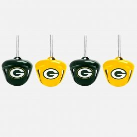 Trimmerry 4 Pack Packers Mini Bell Ornament Set