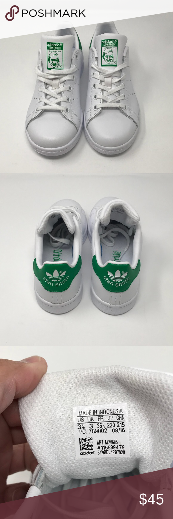 M20605 Adidas Stan Smith Kids Youth blanco tamaño NWT Pinterest