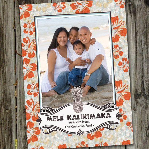 Hawaiian Holiday Mele Kalikimaka Christmas Printable Photo Card 15 00 Via Etsy