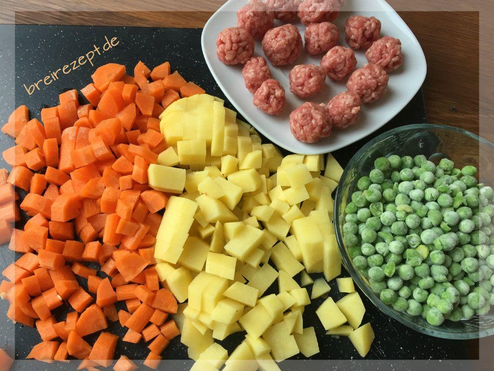 Gemüseeintopf mit Fleischbällchen Gemüseeintopf mit Fleischbällchen für Baby und Kleinkind kochen
