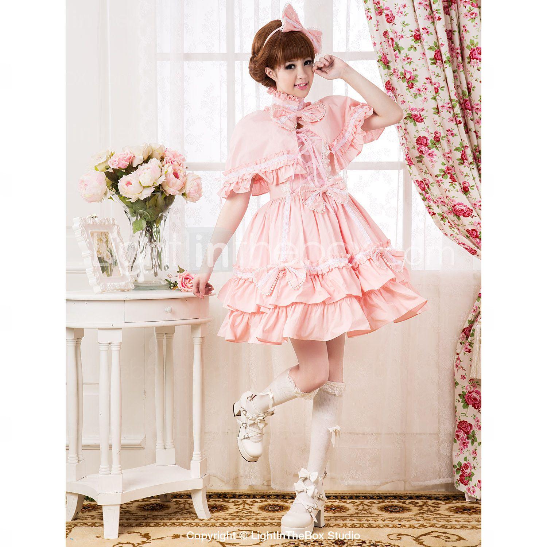 Short Sleeve knelang Pink Cotton Søt Lolita kjole med Cape - NOK kr. 595