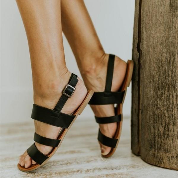 Wide Fit Sandal Comfy Wedge Sandal Strap Flat Shoes Vintage Peep Toe Suede Flats