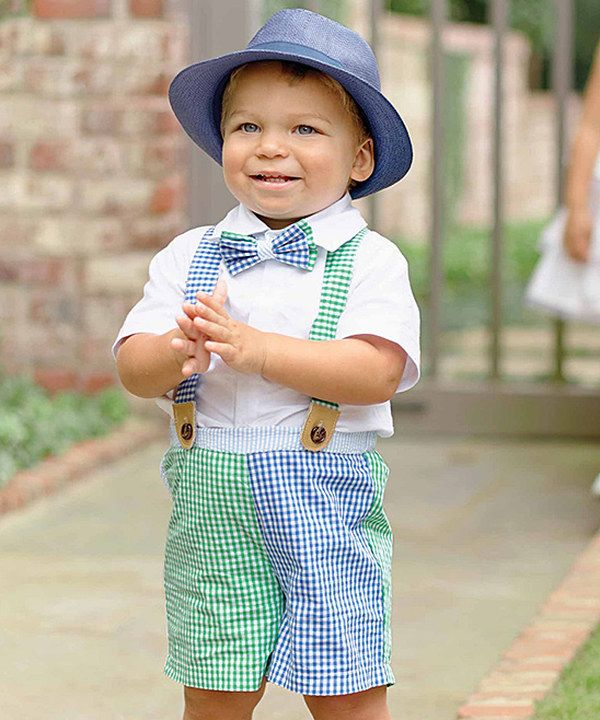 8ca0ebb5a5a1 Look at this Mud Pie Blue & Green Suspender Shorts Set - Infant & Toddler  on #zulily today!