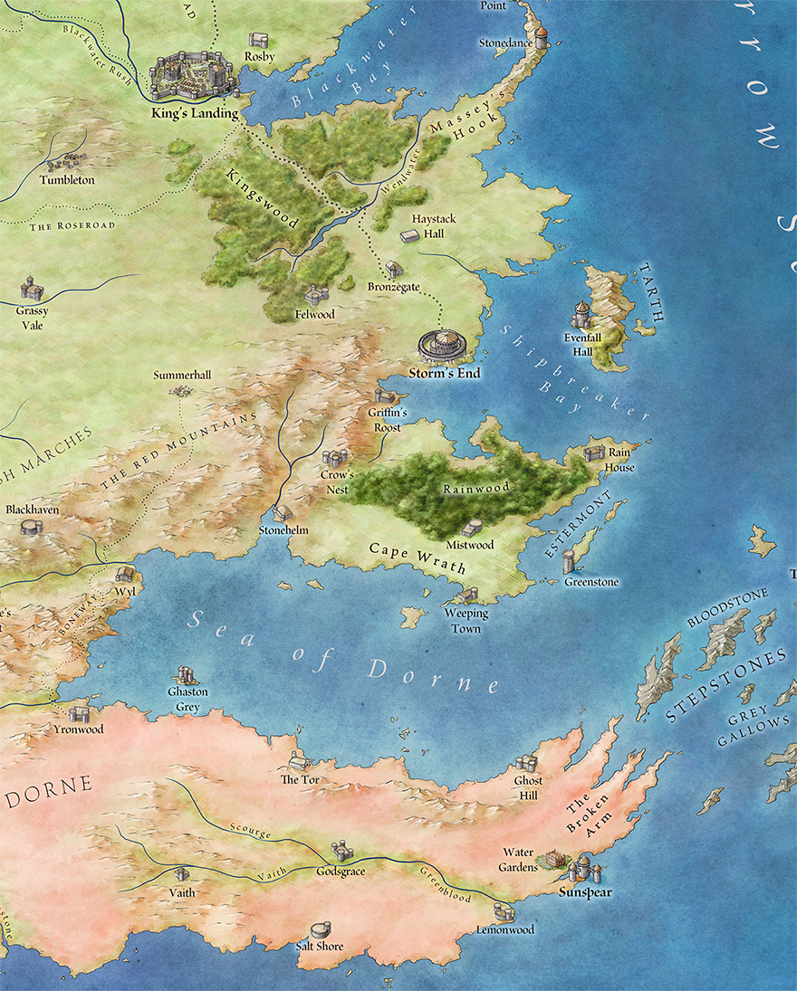 The official map of westeros juego de tronos juego de y juego a mini map to show the distance from dorne to kings landing no wonder gumiabroncs Gallery