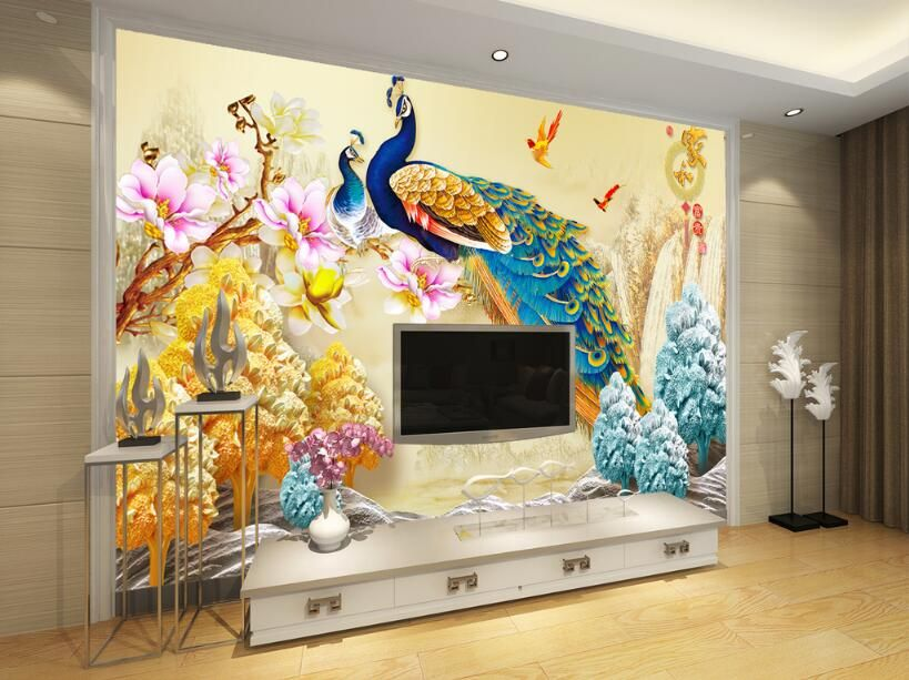 living room backdrop 3d wall sticker themed peacock chinese painting