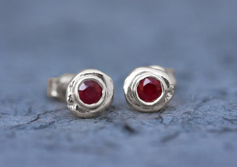Ruby Earrings White Gold Unique