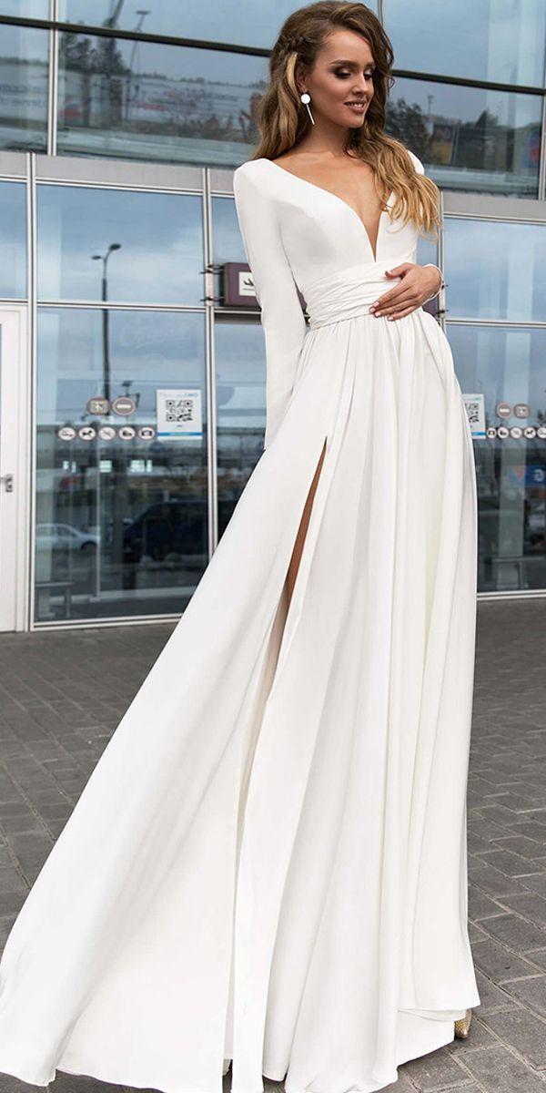 Photo of ¡NUEVO! Delicado vestido de escote en V spandex escote en V hasta el suelo una línea – #De …