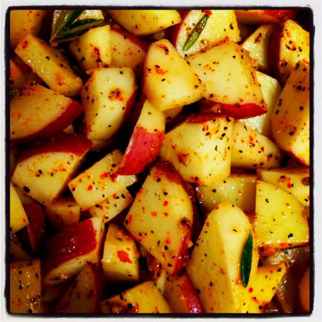 Roasted garlic and rosemary red potatoes.