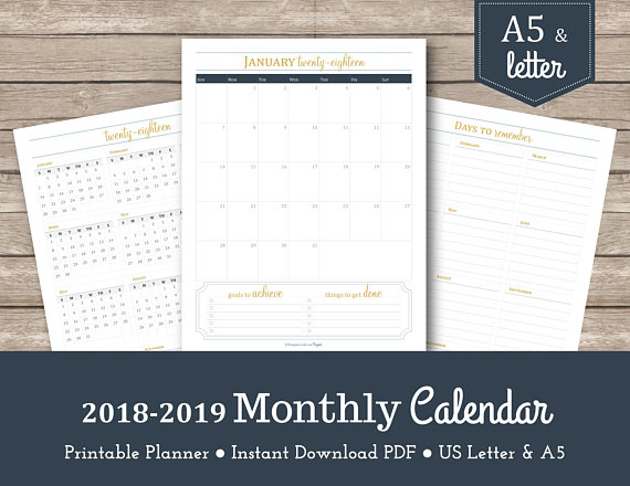 2018-2019 Monthly Calendar / Printable Planner Inserts / A5 Planner