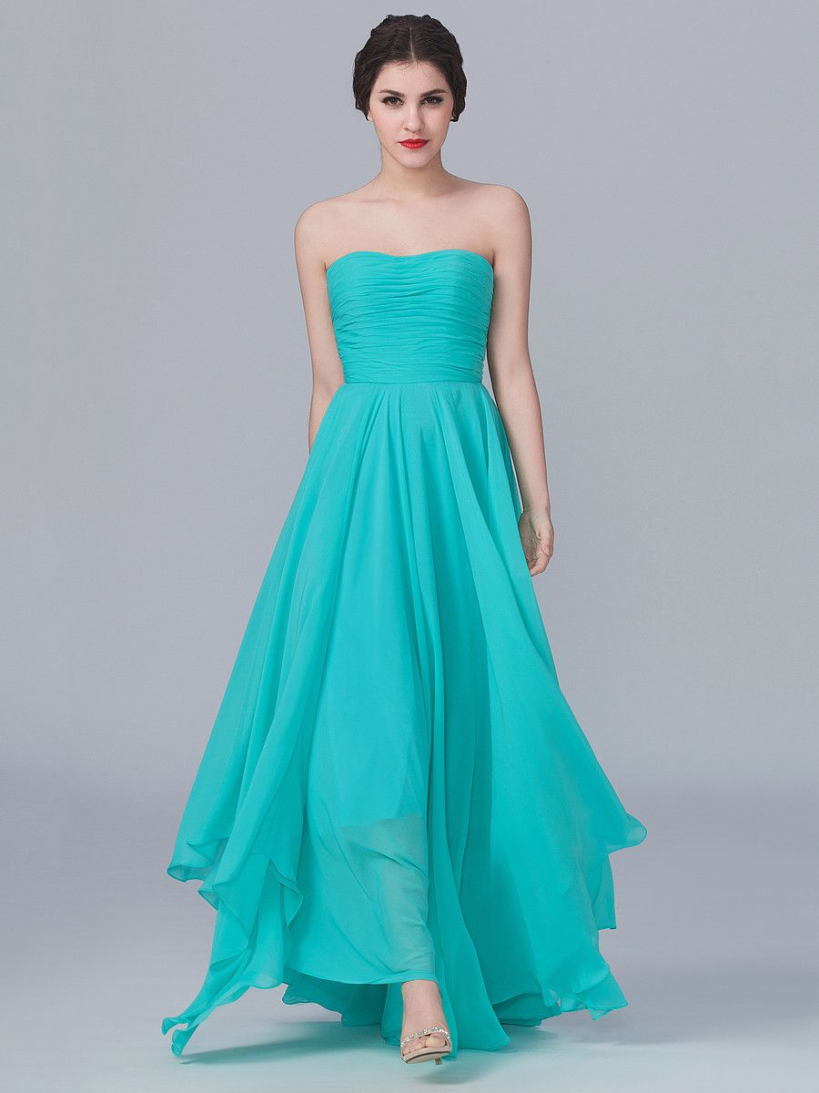 Strapless Dress with Uneven Hemline; Color: Turquoise; Sizes ...
