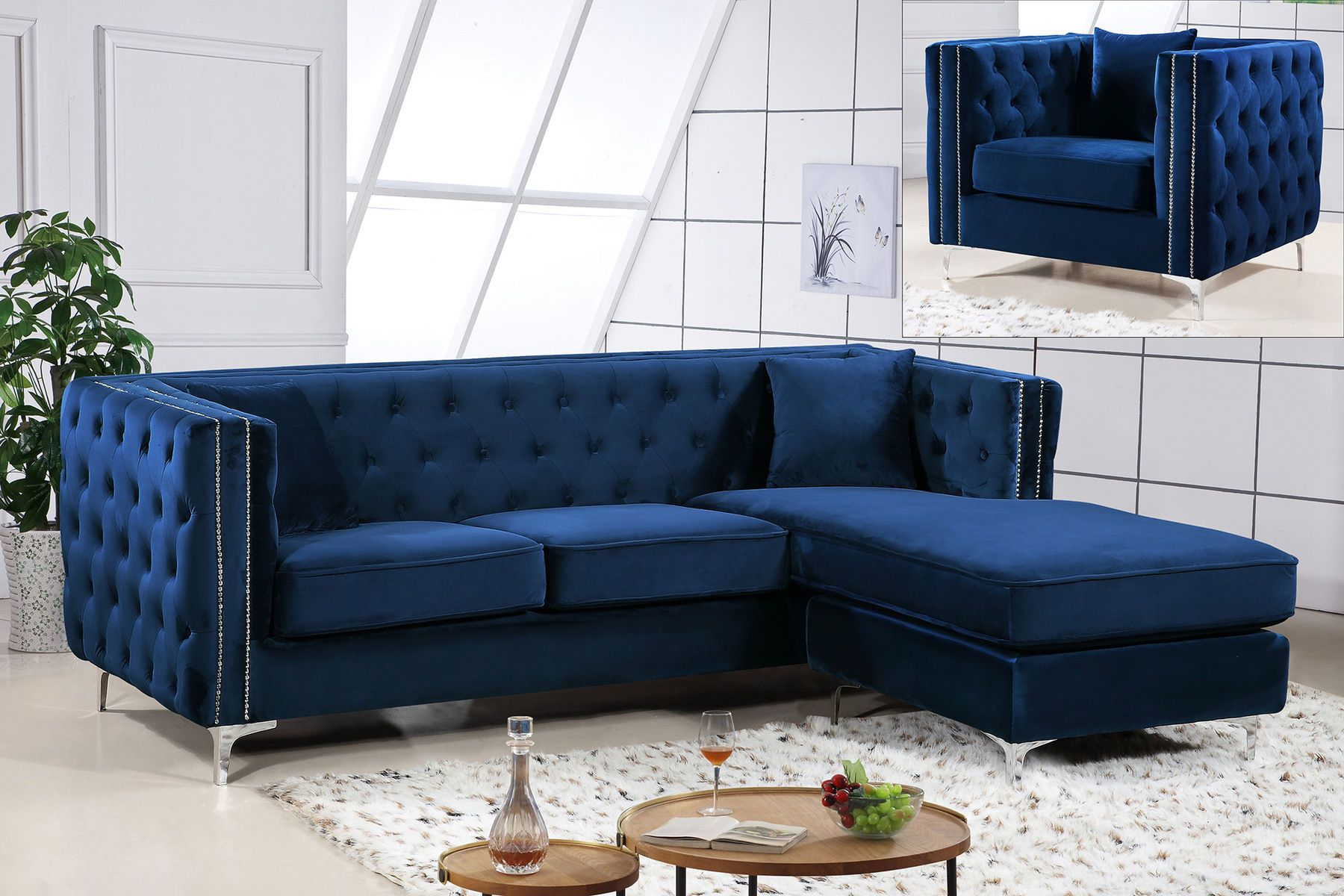 Jesse Rf Navy Sectional Sofa In 2020 Furniture Tufted Sectional Sofa Sectional Sofa