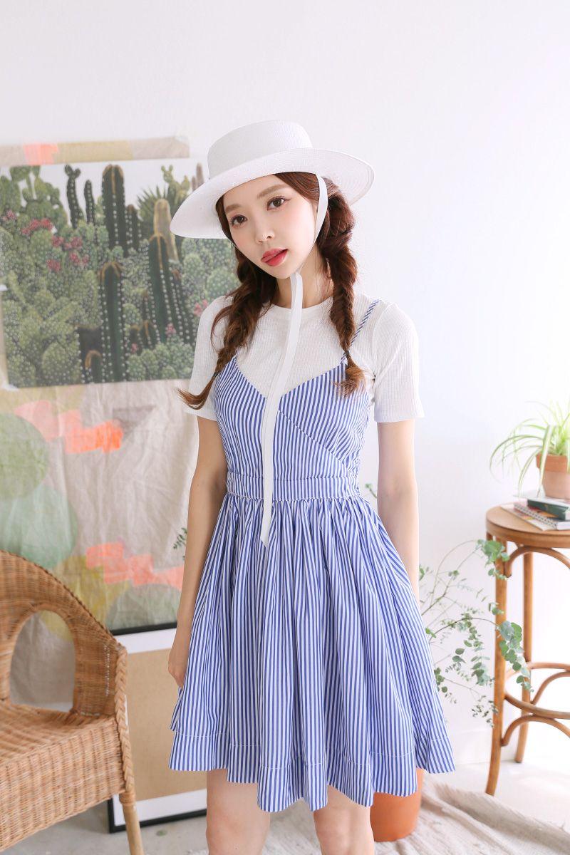 Korean wedding decoration ideas  Striped FitandFlare Dress CHLODMANON  Shop feminine u adorable