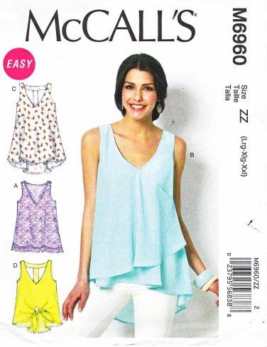 McCalls Sewing Pattern 6960 Misses Size 16-26 Easy Pullover Loose ...