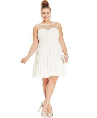 Trixxi Plus Size Illusion Ruched A-Line Dress | macys.com ...