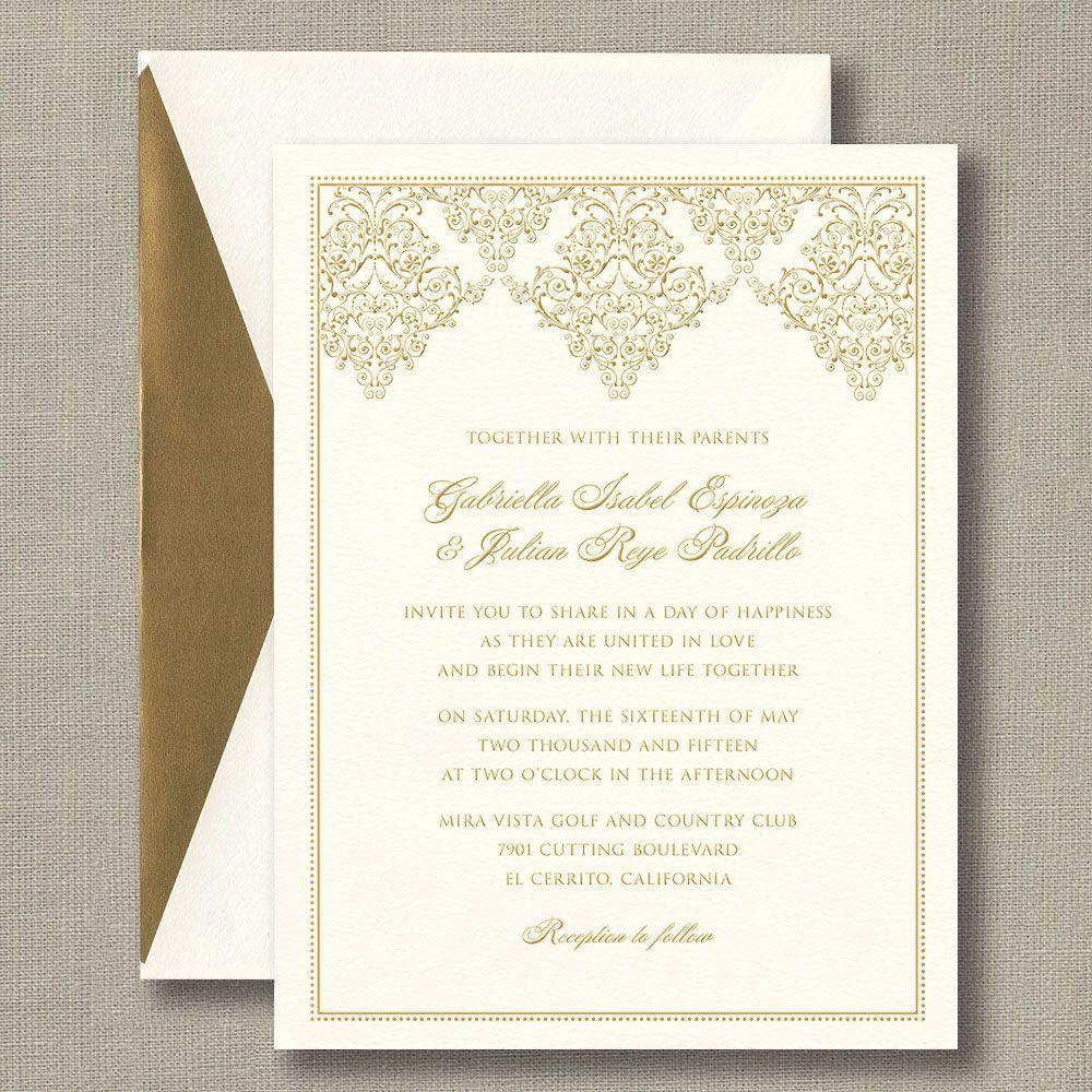 Gold Damask Scroll Warm White Wedding Invitations: Fancy scrollwork ...