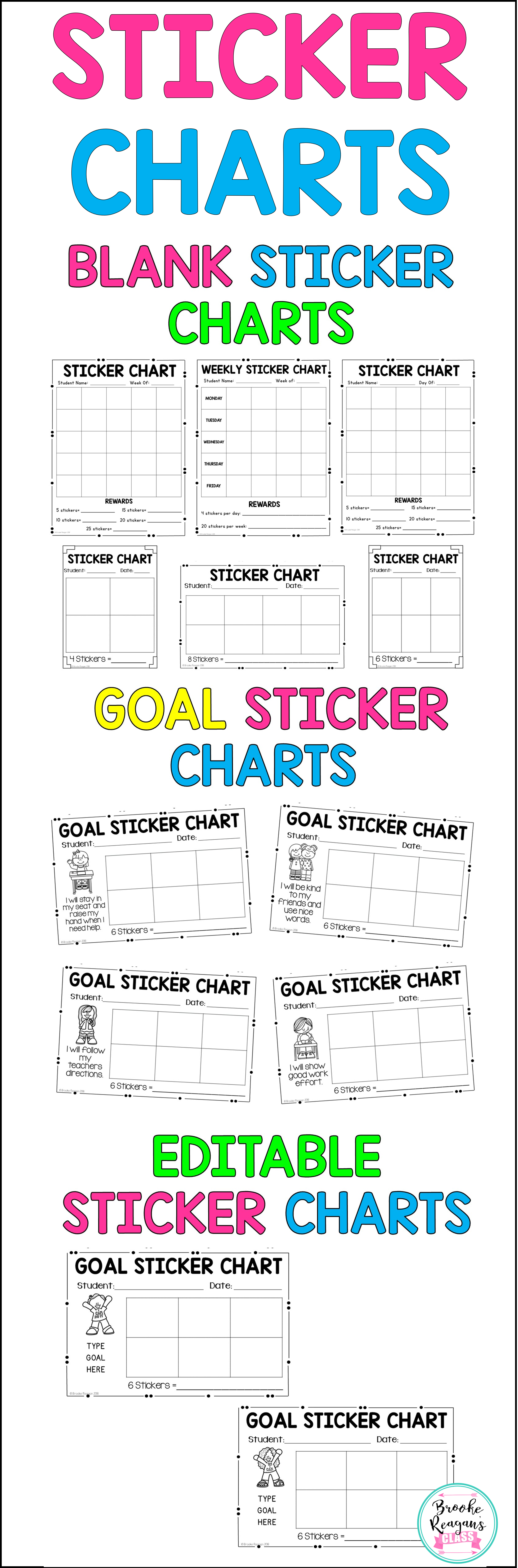 Sticker And Tally Charts Blank And Goal Sticker Charts