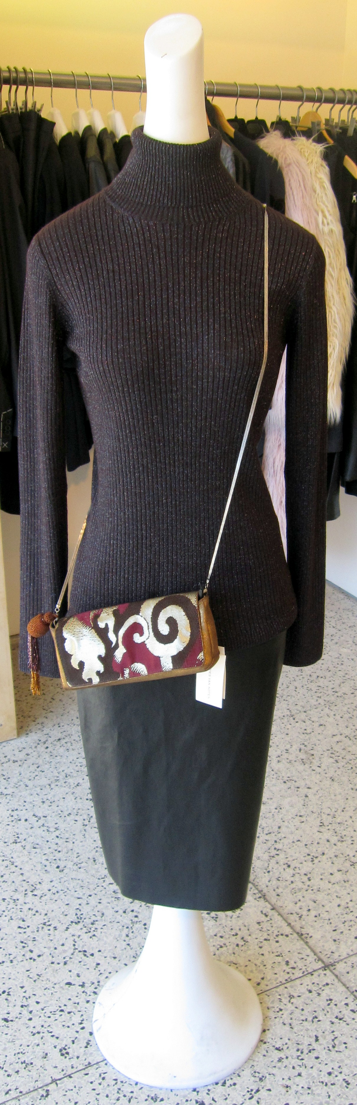 Dries Van Noten shirt/handbag Stoules leather skirt