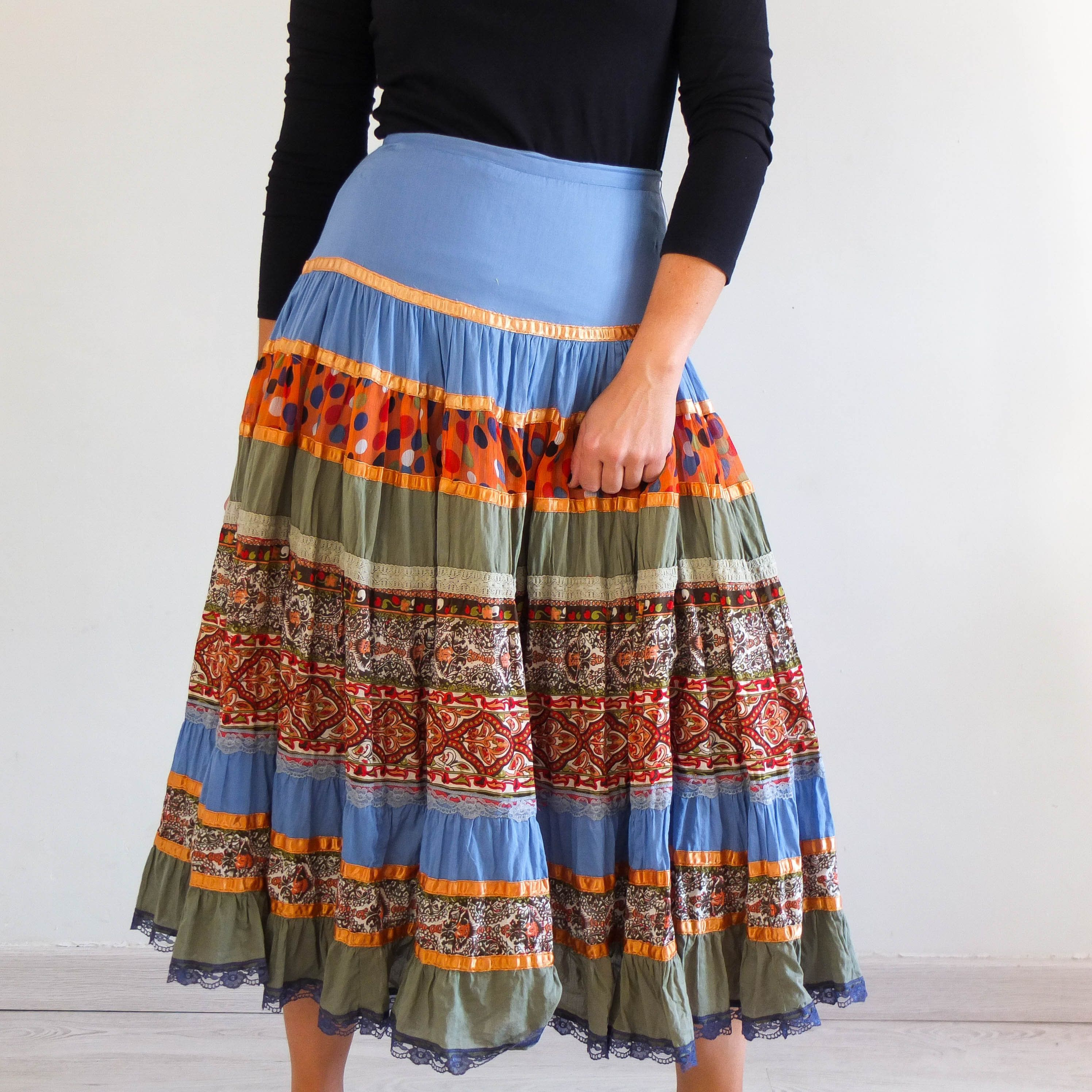 Vintage Maxi Skirt Prairie Peasant Boho Patchwork print fabric ruffle bottom 12