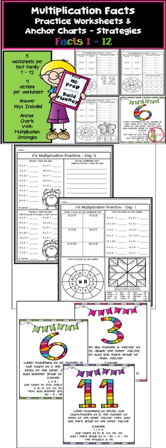 Multiplication Facts Worksheets / Anchor Charts Multiplication ...