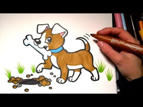 How To Draw A Puppy With A Bone Coloring With Markers Youtube Bone Drawing Drawing Videos For Kids Drawings