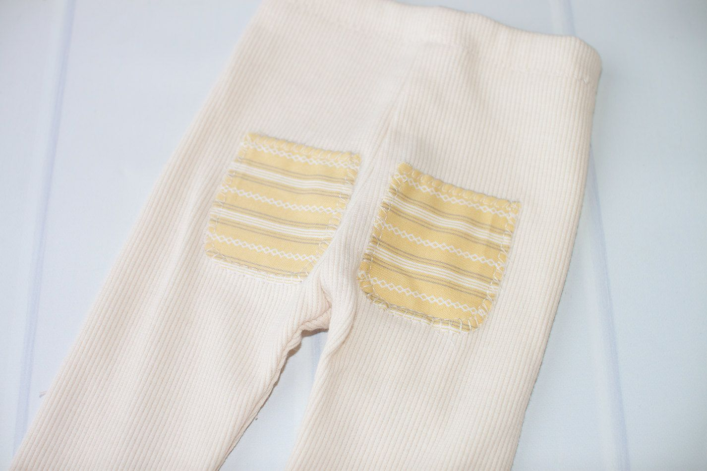 Preston - newborn pants in cream with celery green, cream and grey pockets (RTS) by SoTweetDesigns on Etsy