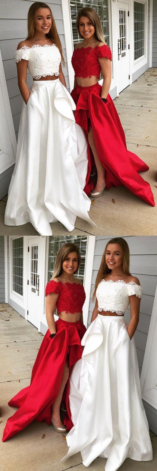 two pieces aline prom dresses white elegant long prom dress
