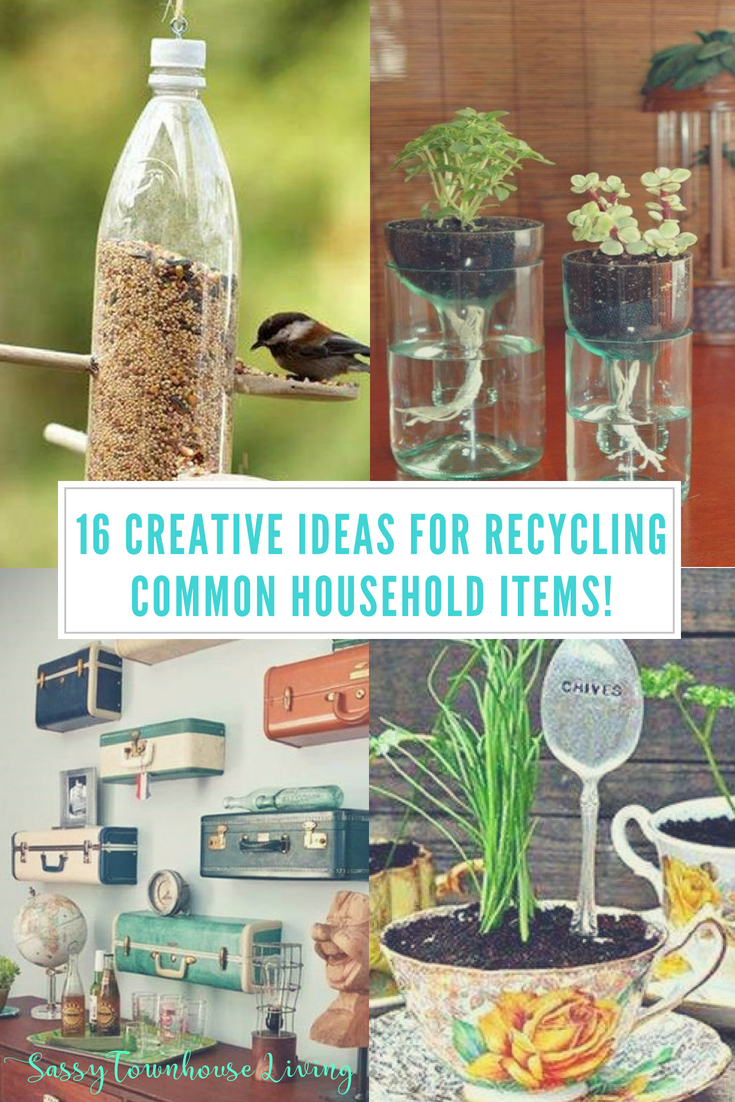 16 Creative Ideas For Recycling Common Household Items Recycle Crafts Diy Upcycle Crafts Diy Upcycled Crafts