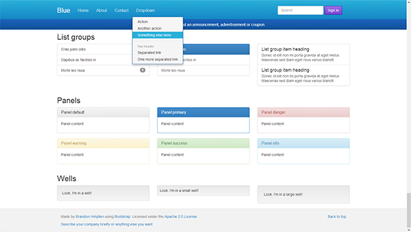 Blue Bootstrap Theme more on http://html5themes.org