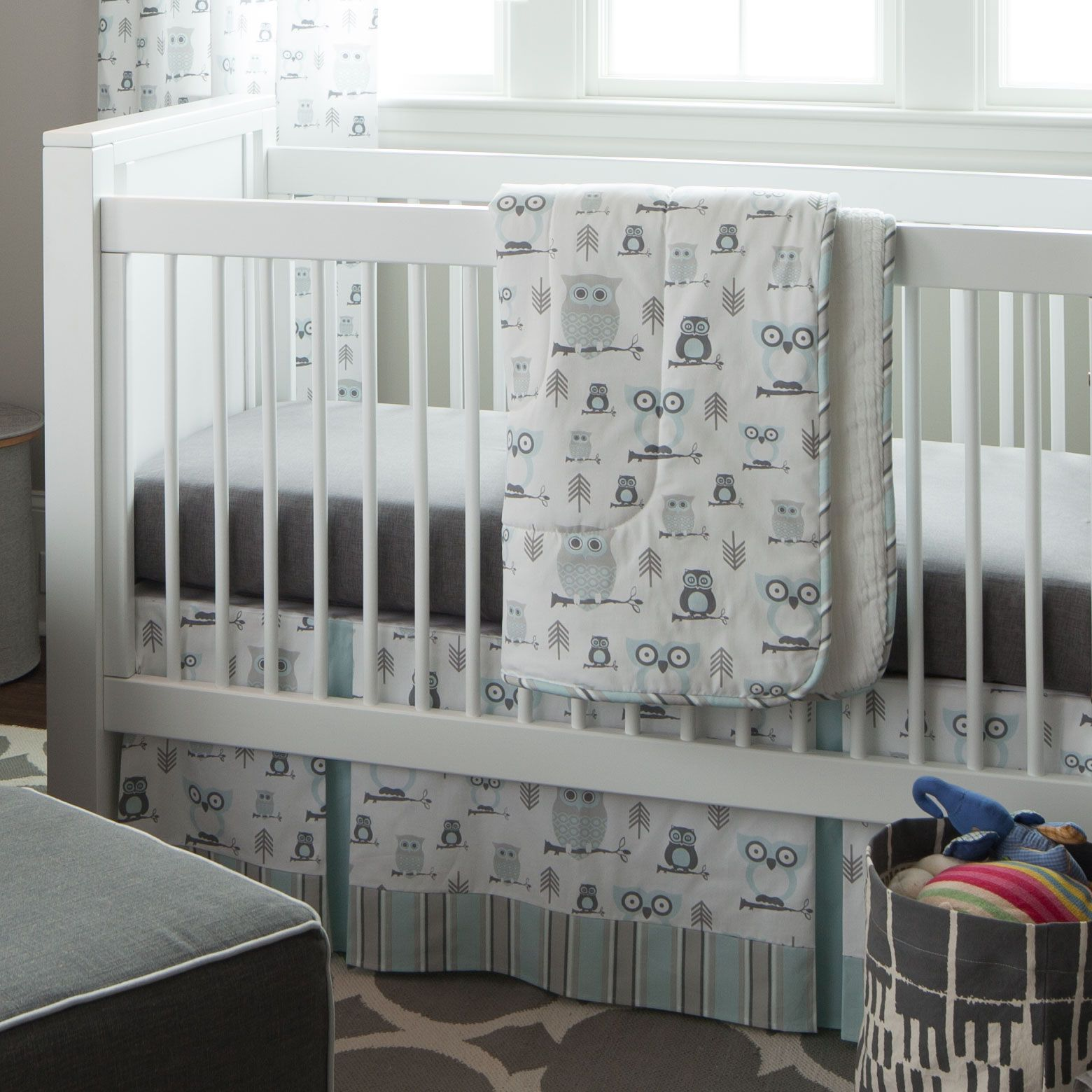 Mist And Gray Owls Three Piece Crib Bedding Set By Carousel