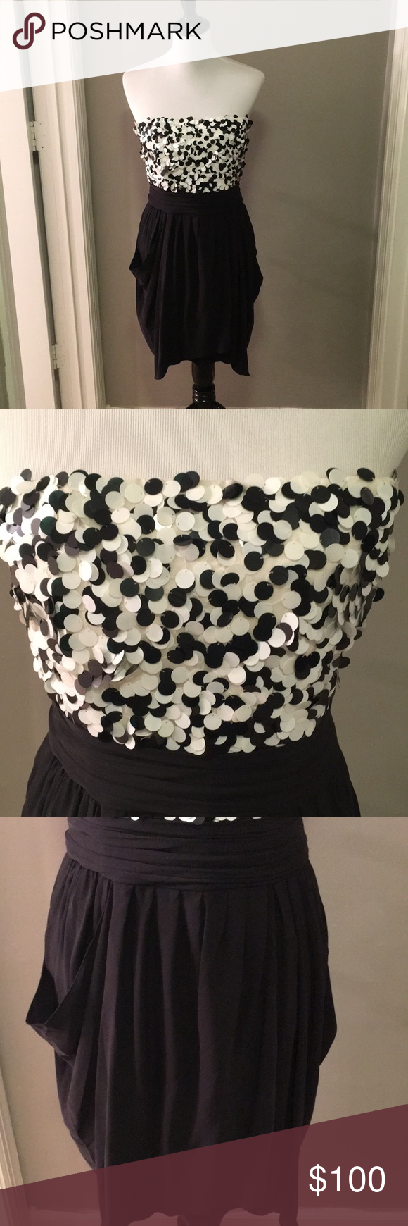 Euc Alice Olivia Black White Formal Dress Siz 10 In Like New Condition Brand Size Smoke Free Home Dresses Mini