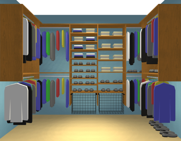 Photos walk in closet design idea limited storage for Designs for walk in closets