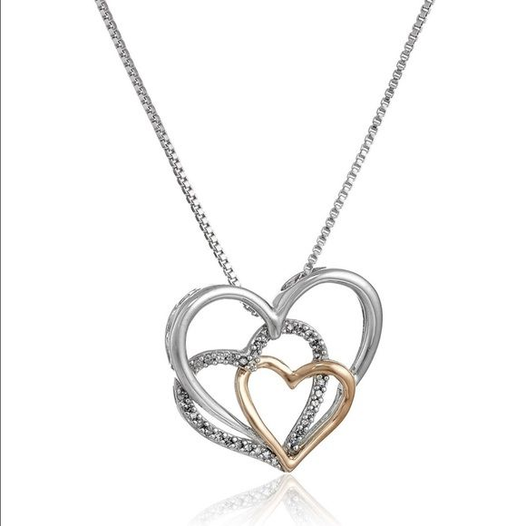 """14k Rose Gold, and Diamond Heart Pendant Necklace Sterling Silver, 14k Rose Gold, and Diamond Triple Heart Pendant Necklace (.09 cttw, I-J Color, I2-I3 Clarity), 18"""" Jewelry Necklaces"""