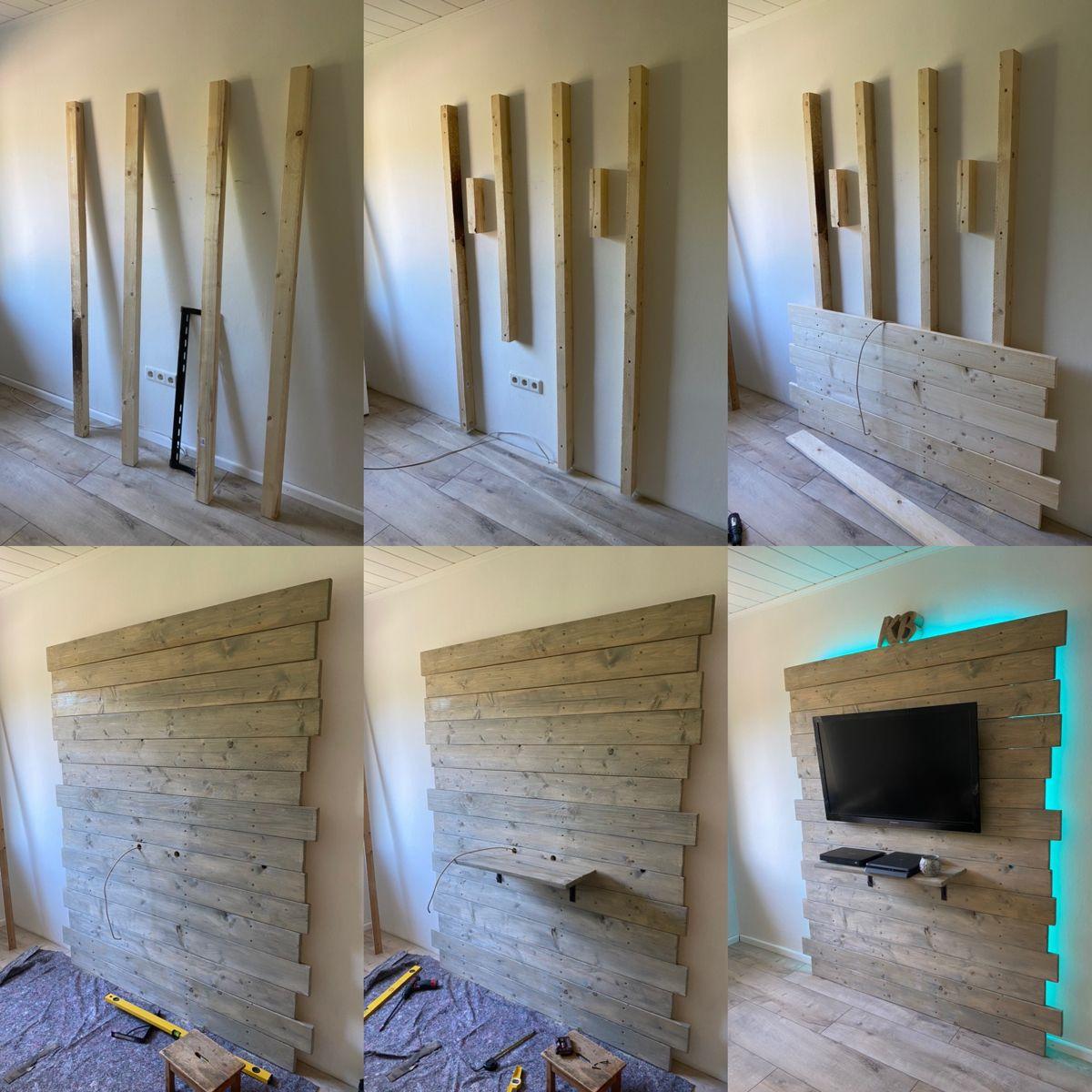 Fernsehwand Wohnzimmer Holz In 2020 Fernsehwand Badezimmer Beispiele Palettenholzwände