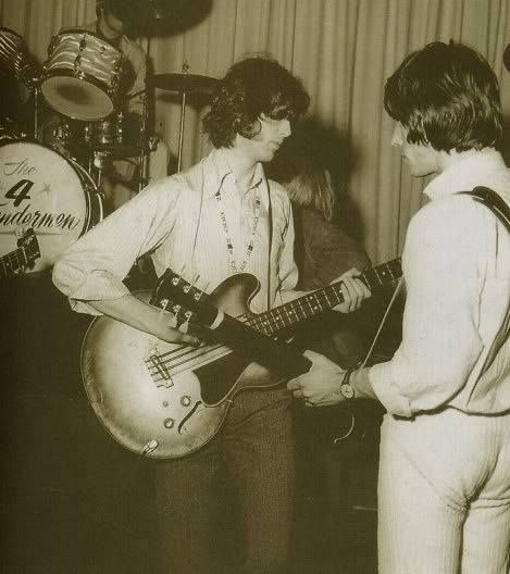 Early Yardbirds with Jimmy Page playing bass. Jeff Beck (r)