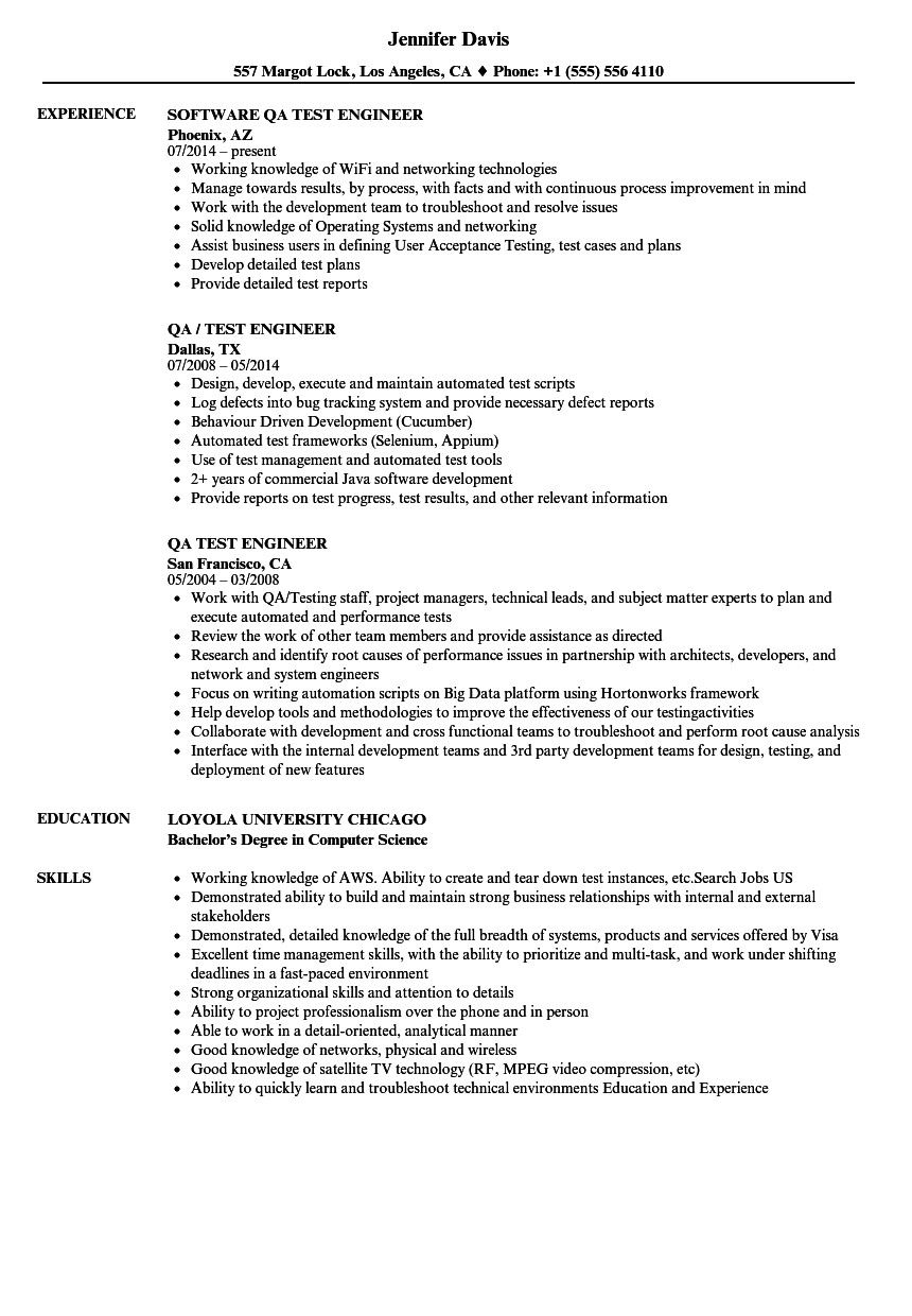 Qa Tester Resume No Experience Original Qa Test Engineer Resume