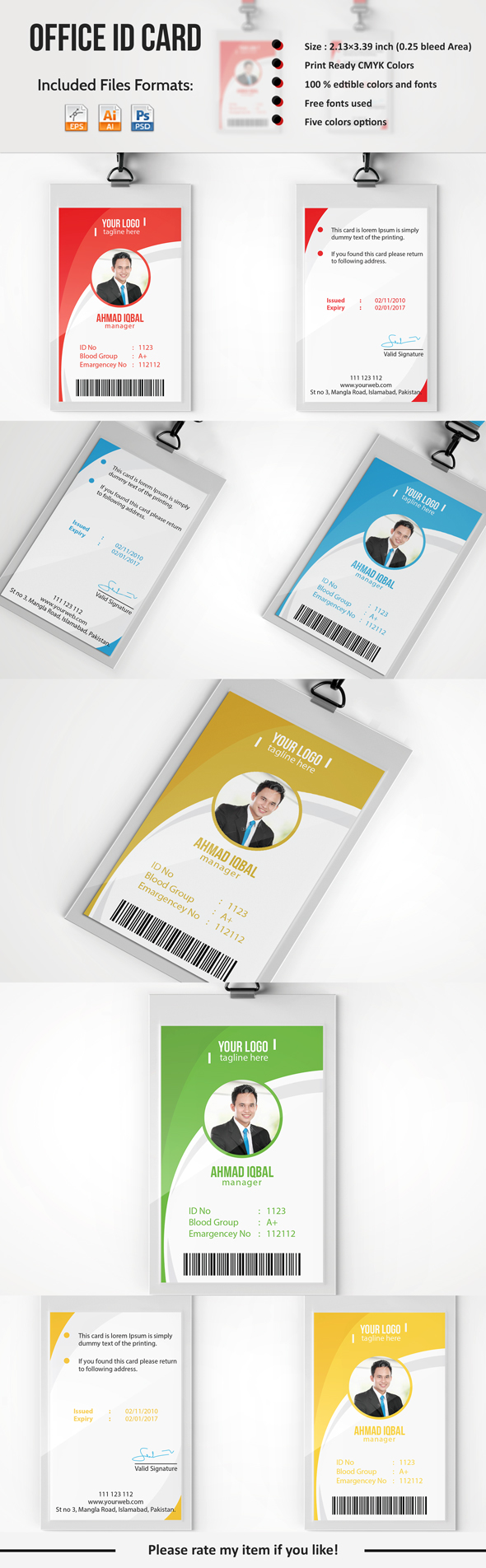 Professional Employee ID Card on Behance | flayer | Pinterest ...